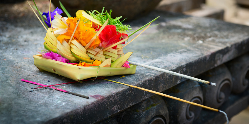 Balinese offering with incense